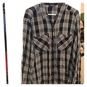 Button down boyfriend fit soft flannel long sleeve